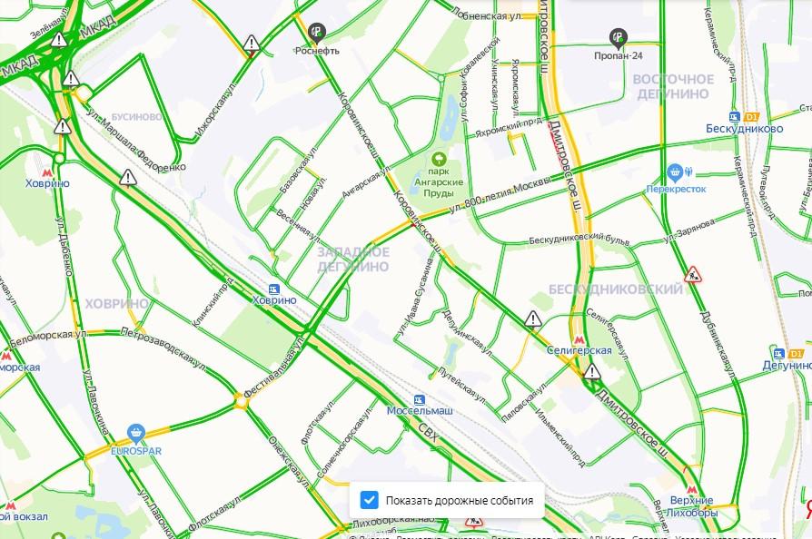 Коровинское шоссе утром 27 мая почти свободно